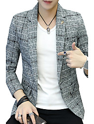 Men's Plus Size Casual/Daily Work Simple Cute Active Street chic Fall Winter Blazer,Solid Print V Neck Long Sleeve RegularCotton