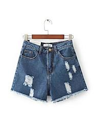 Feminino Simples Cintura Alta Micro-Elástica Reto Shorts Calças,Reto Shorts Sólido