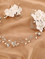 Tulle Imitation Pearl Rhinestone Silk Alloy Headbands Hair Combs Flowers Headpiece