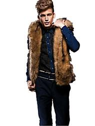 cheap -Men's Daily Simple Casual Winter Fall Vest,Solid Hooded Sleeveless Regular Rex Rabbit Fur