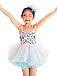 cheap -Ballet Dresses Performance Polyester Tulle Sequined Lycra Sequin Tier Paillette Cascading Ruffle Sleeveless High Dress Headwear