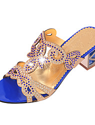cheap -Women's Shoes PU Summer Sandals Walking Shoes Chunky Heel Open Toe Sparkling Glitter For Black Blue Royal Blue