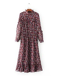 Feminino Solto Tricô Vestido,Para Noite Casual Simples Moda de Rua Floral Estampado Colarinho Chinês Longo Médio Manga LongaAlgodão Linho