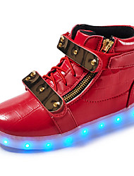cheap -Kids Boy Girl's Sneakers Light Up Shoes Comfort Leather Spring Summer Fall Winter Athletic Casual Outdoor Walking LED Hook & Loop Low HeelRuby