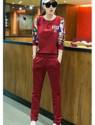 abordables -Mujer Simple Casual/Diario Verano T-Shirt Pantalón Trajes,Escote Redondo Estampado Manga Larga