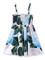 Girl's Floral Print Geometric DressCotton Summer Sleeveless Baby Braces skirt