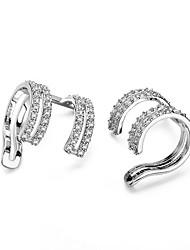 Women's Clip Earrings Cubic Zirconia Geometric Bohemian Personalized Hypoallergenic Multi-ways Wear Zircon Silver Plated Jewelry For Gift