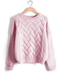 cheap -Women's Daily Regular Pullover,Solid Peter Pan Collar Long Sleeves Cotton Winter Fall Medium Micro-elastic