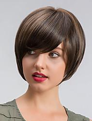 MAYSU Women Synthetic Wig Short Straight Medium Brown Natural Wigs Costume Wig