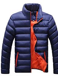 Standard Piumino Da uomo,Cappotto Semplice Casual Tinta unita Cotone Cotone Manica lunga