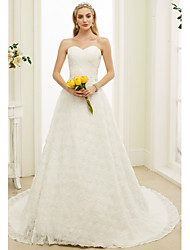 cheap -A-Line Sweetheart Court Train Lace Custom Wedding Dresses with Beading Sash / Ribbon by LAN TING BRIDE®