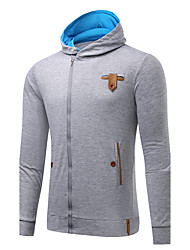 Men's Sports Going out Simple Street chic Hoodie Solid Cut Out Hooded Micro-elastic Cotton Long Sleeve Spring Fall