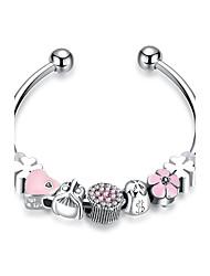 abordables -Femme Bracelets Rigides Manchettes Bracelets Cristal Zircon Sexy Doux Elégant Plaqué argent Alliage Forme Géométrique Bijoux Pour Mariage
