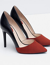 Women's Shoes PU Spring Fall Comfort Heels Stiletto Heel Pointed Toe For Casual Black Orange Gray
