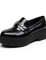 Women's Loafers & Slip-Ons Comfort Synthetic Microfiber PU Spring Fall Casual Metallic toe Chunky Heel Black 1in-1 3/4in