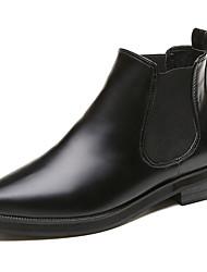 baratos -Mulheres Sapatos Couro Ecológico Inverno Coturnos Botas Caminhada Salto Robusto Dedo Apontado Elástico para Preto