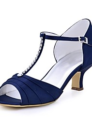 cheap -Women's Wedding Shoes Basic Pump Stretch Satin Summer Wedding Dress Crystal Buckle Chunky Heel Blue Green Ruby Dark Blue Black 2in-2 3/4in