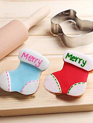 Недорогие -рождественские носки печенье резак из нержавеющей стали