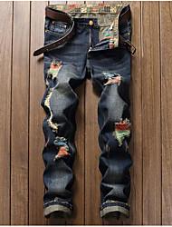 Da uomo A vita medio-alta Semplice Anelastico Jeans Pantaloni,Dritto Taglia piccola Con stampe