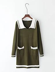 Feminino Solto Tricô Vestido,Festa Casual Simples Moda de Rua Sólido Estampa Colorida Colarinho de CamisaAltura dos Joelhos Acima do