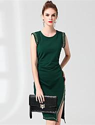 ZRANFANG Women's Casual/Daily Sheath DressSolid Striped Shirt Collar Above Knee Long Sleeve Cotton Fall Mid Rise Micro-elastic Medium