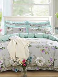 cheap -Floral 4 Piece Cotton Cotton 1pc Duvet Cover 2pcs Shams 1pc Bedskirt