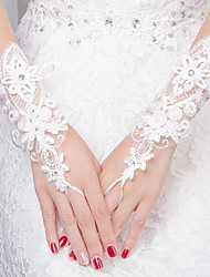Wrist Length Fingerless Glove Lace Bridal Gloves All Seasons Rhinestone Appliques