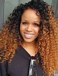 cheap -Remy Human Hair Glueless Lace Front / Lace Front Wig Kinky Curly Wig 180% Faux Locs Wig / Ombre Hair / Natural Hairline Ombre Women's Short / Medium Length / Long Human Hair Lace Wig / 100% Hand Tied