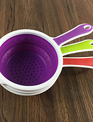 Random Color Collapsibles Silicone Colander with holder Foldable Kitchen Silicone Strainers vegetable fruit washing dry salad basket
