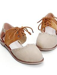Damen Schuhe Echtes Leder PU Sommer Komfort Sandalen Für Normal Beige Mandelfarben