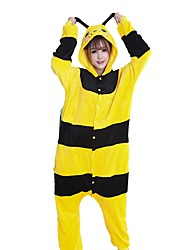 cheap -Kigurumi Pajamas Bee Onesie Pajamas Costume Flannel Fabric Cosplay For Adults' Animal Sleepwear Cartoon Halloween Festival / Holiday