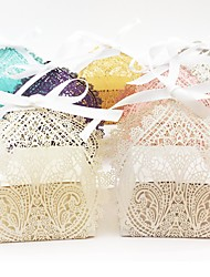 cheap -Oval Pearl Paper Favor Holder with Ribbons Favor Boxes - 50