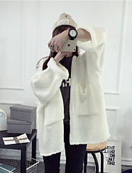 Women's Casual/Daily Regular Cardigan,Solid V Neck Long Sleeves Wool Cotton Linen Fall Medium Micro-elastic