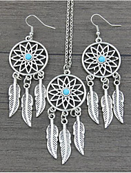 Bohemian Feather Earrings And A Dreamcatcher's Lucky Necklace