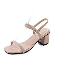 Damen Sandalen Komfort Pumps PU Frühling Sommer Kleid Party & Festivität Schnalle Blockabsatz Schwarz Beige 5 - 7 cm