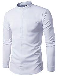 abordables -Hombre Simple Noche Trabajo Otoño Camisa,Escote Chino Un Color Manga Larga Algodón