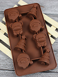 cheap -8 Holes Santa Claus Christmas tree bear chocolate candy jelly 3D silicone mold cake tool baking tableware soap mold