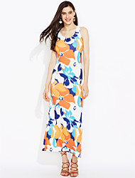 Beach Holiday Sexy Vintage Boho Bodycon Dress,Floral U Neck Maxi Sleeveless Polyester Summer Fall Mid Rise Micro-elastic Medium