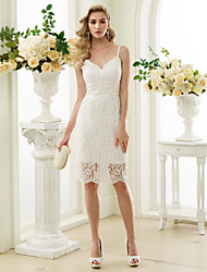 cheap -Sheath / Column Spaghetti Straps Knee Length Lace Made-To-Meature Wedding Dresses with Lace by LAN TING BRIDE® / Little White Dress