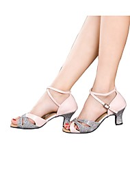 Women's Latin Sparkling Glitter Paillette Satin Sandals Heels Sneakers Indoor Ruffles Ruched Sparkling Glitter Paillettes Cuban Heel