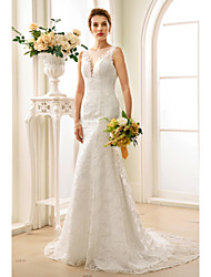 cheap -Mermaid / Trumpet Plunging Neck Court Train Lace Made-To-Measure Wedding Dresses with Appliques / Buttons by LAN TING BRIDE®