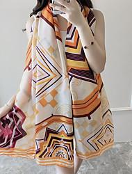 Women's Beach Seaside Vacation Flowers Printing Scarf Long Sunscreen Decorative Silk