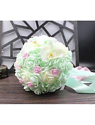 preiswerte -Hochzeitsblumen Sträuße Hochzeit Perlen Spitze Seide Organza Satin 30 cm ca.