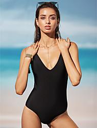 Women's Western Style V Neck One-piece Swimwear, Solid Nylon / Polyester Black