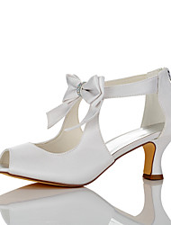 Women's Sandals Comfort Summer Fall Satin Wedding Dress Party & Evening Bowknot Stiletto Heel White 2in-2 3/4in