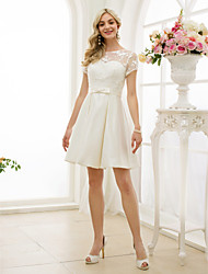 cheap -A-Line Illusion Neckline Knee Length Lace Satin Wedding Dress with Bow(s) Sashes/ Ribbons by LAN TING BRIDE®