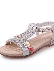 Damen Sandalen Komfort PU Frühling Sommer Kleid Schnalle Flacher Absatz Gold Silber Unter 2,5 cm
