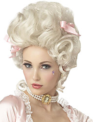 cheap -Synthetic Wig Cosplay Wig white blonde marie antoinette princess wig for halloween costume Curly Synthetic Hair Women's Medium Length Capless White