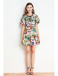 By Megyn Women's Casual/Daily Sheath DressStriped Print Shirt Collar Above Knee Short Sleeve Polyester Summer Mid Rise Micro-elastic Medium