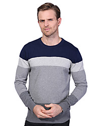 Men's Plus Size Casual Spell Color Knitted Pullover Round Neck Long Sleeve Cotton Winter